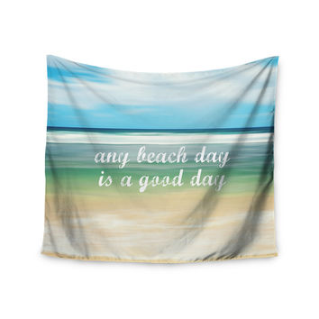 "Sylvia Cook ""Any Beach Day"" Coastal Typography Wall Tapestry"