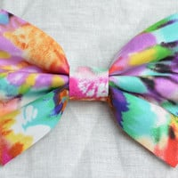 Rainbow Tie Dye Hair Bow