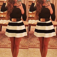 Long Sleeve Striped A-Line Mini Dress