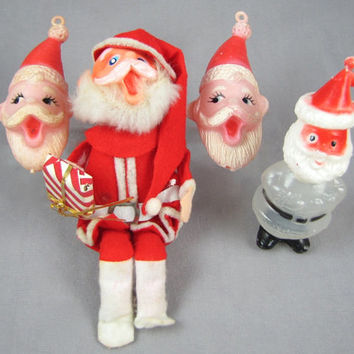 Singing Santas - 4 Santa Claus Christmas Ornaments, Vintage 1960s Christmas Candy Container, Posable Felt Bendy, & 2 Soft Plastic Heads