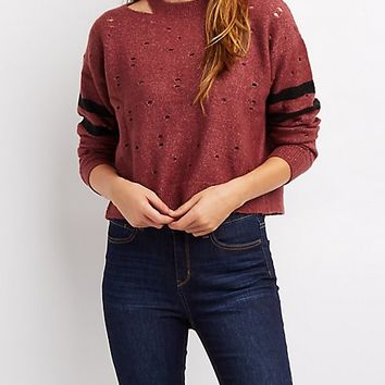 Destroyed Varsity Stripe Cropped Sweater | Charlotte Russe