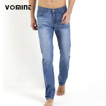 Men's Jeans Thin Slim Straight Loose Mid Waist Male Long Pants Washing classic Denim man jean