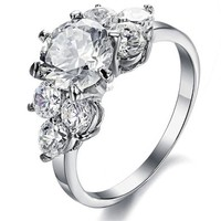 MP Fashion Jewelry Flower AAA High Quality CZ Titanium Stainless Steel Ring DP 0613