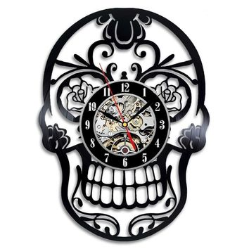 Decorative Skull Wall Clock Made with Vinyl Record