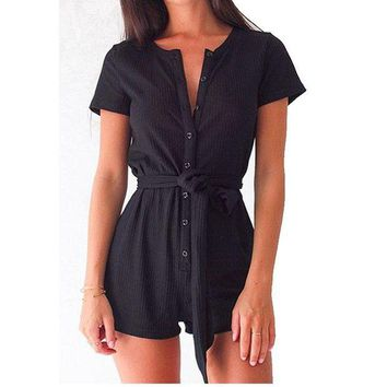 DCCKU62 2017 New Casual Playsuit Women Deep V neck Solid Sashes Cotton Women Jumpsuits Button Sexy Rompers One-piece Clothing