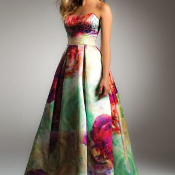 Floral Box Pleat Satin Dress