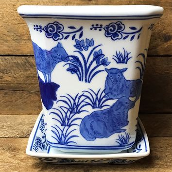 Blue and White Stoneware Planter with Saucer - Sheep Design