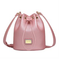 Bucket bag Quality 3 Colors PU Leather Drawstring Ladies Shoulder