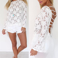 'The Leiko' Floral Lace Cut-Out Chiffon High-Low Blouse