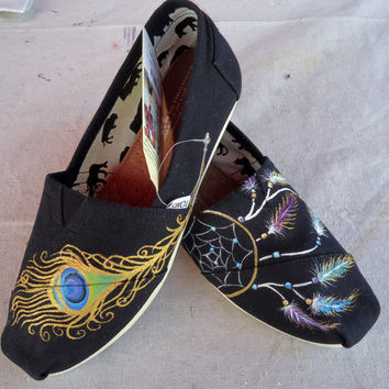 Peacock Feather & Dreamcatcher TOMS by LamaLand on Etsy