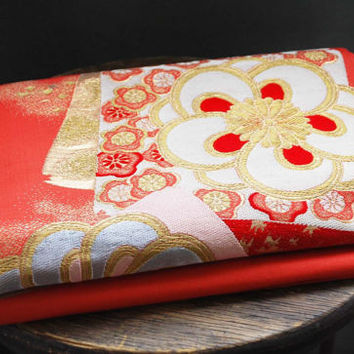 Red Obi, sash, obi for Kimono, obi for yukata, textile, Woven, japanese obi, sewing, silk fabric, craft gift, table runner, Japanese fabric