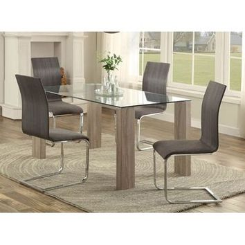 Homelegance Zeba Dining Table In Washed Weathered Wood / Glass