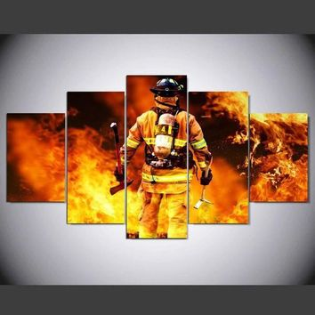 5pcs Print wall art canvas firefighter painting modern home decor canvas wall Art picture for living room bedroom /PT0750