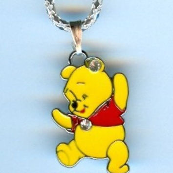 Cute! Disney WINNIE the POOH Bear with Crystals Charm Pendant with Necklace - J99