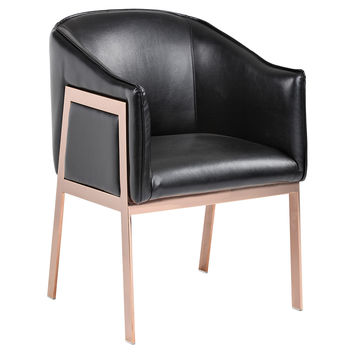 Rose Gold Accent Chair, Black Leather, Accent & Occasional Chairs