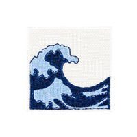 Water Wave Ocean Emoji Embroidered Iron On Patch - FREE SHIPPING