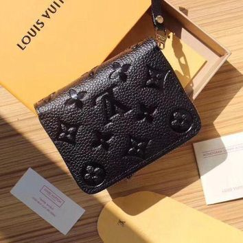 Lv Louis Vuitton Women's Leather Stylish Zipper Wallet F