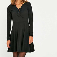Pins & Needles Lace Up Fit & Flare Dress - Urban Outfitters