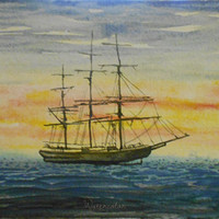 Water Color : Clipper ship watercolor print. Ship painting. Nautical decor. Watercolor art. Ship wall art. Ship picture. Ship artwork.