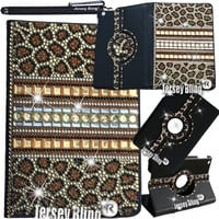 GOLD LEOPARD Jersey Bling® iPad Mini Case with Crystals, Rhinestones Faux Leather Folio Case w/FREE Stylus & XTRA BLING!
