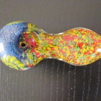 "New solid colorful glass pipe 4"" with free metal screens"