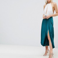 ASOS PETITE Exclusive Satin Pleated Midi Skirt with Splices at asos.com