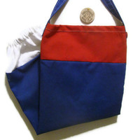 Fabric Plastic Bag Holder/ Grocery Bag Holder/ Red White Blue Kitchen Decor