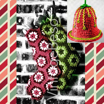 2 CROCHET PATTERNS PDF 1970s Christmas Stockings & 1960s Xmas Bell for Holiday Tree Ornament Gift Wrapping Decorations Vintage Granny Square