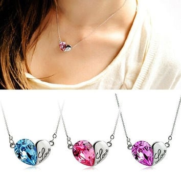 Woman Charming Love Heart Pendant Chain Crystal Rhinestone Necklace Unique Jewelry = 1652346436