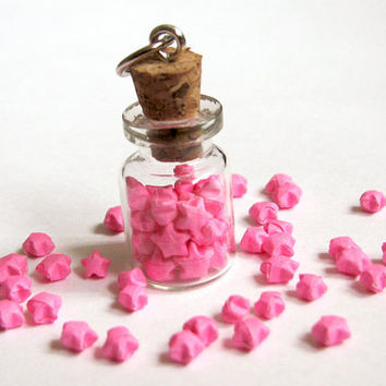 Miniature Origami Necklace, Pink Lucky Paper Stars in Glass Vial Bottle Pendant, Kawaii Cute Gift for Her
