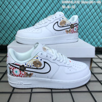 HCXX N278 Nike Air Force 1 CNY Low Fireworks embroidery Leather Skate Shoes White