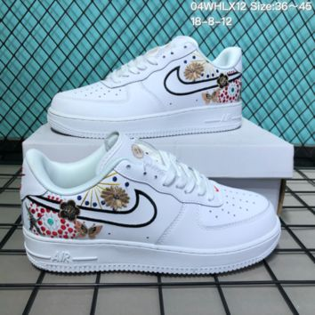 DCCK2 N278 Nike Air Force 1 CNY Low Fireworks embroidery Leather Skate Shoes White