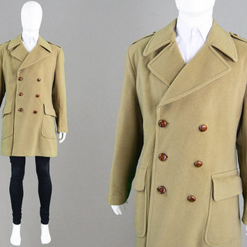 Vintage 70s Mens Peacoat Camel Coat Double Breasted Coat Military Inspired Mod Jacket Wool Blend 1960s Pea Coat Smart Winter Coat 1970s