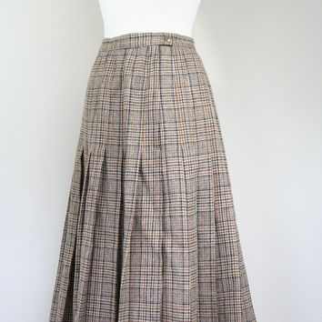 1980's plaid Pendleton wool skirt high waist pleated brown virgin wool winter warm mid calf length XS size 4