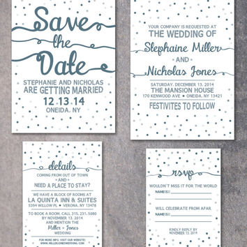 "Winter Wedding Invitation, Confetti Invite, Printable Invitation Set: Save the Date 5x7"", Invitation, 5x7"", Details Card 4x6"", RSVP 3.5x5"""