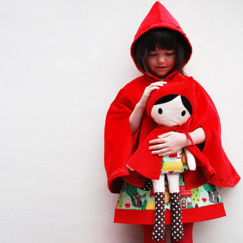 Girls jacket cape, red riding hood, red velvet, toddler coat, dress and doll set