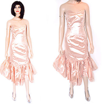 Vintage Blush Pink Dress Lame Tulle Homecoming Prom Holiday Party Mermaid Maxi Dress Pastel Light Pink Sweetheart Neckline Strapless