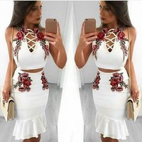 Stylish Casual Set Sexy Club Embroidery Spaghetti Strap Skirt [10417018887]