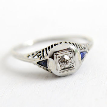 Antique 14K White Gold Diamond & Sapphire Ring- Vintage Art Deco 1920s Size 7 1/2 Filigree Engagement Wedding Fine Jewelry