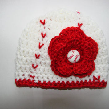 Crochet baby girl baseball hat beanie red white handmaded 0-3 months shower gift photo prop
