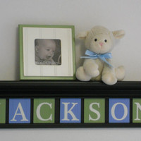 "Blue and Green Baby Boy Nursery Decor 30"" Black Shelf with 7 Wooden Letter Plaques - JACKSON, Kids Room Personalized Wall Shelves Gift Ideas"