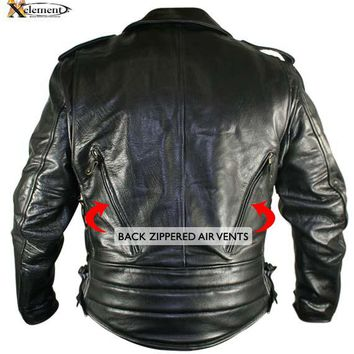 Xelement B7210 Cool Rider Mens Black Vented Leather Motorcycle Jacket