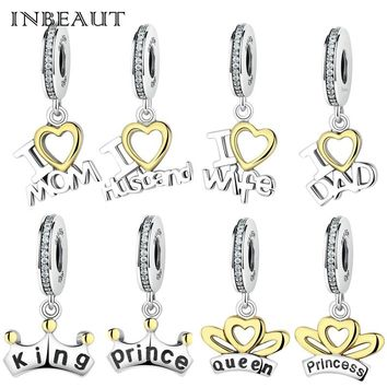 INBEAUT Fashion 925 Sterling Silver Cute Family Dad Mom Pendant Beads King Queen Princess Letters Charm fit Pandora Bracelet