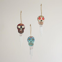 Mini Wooden Skull Wind Chimes, Set of 3 | World Market