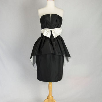 Vintage 1980's Tuxedo Party Dress Black and White Strapless with Peplum Train