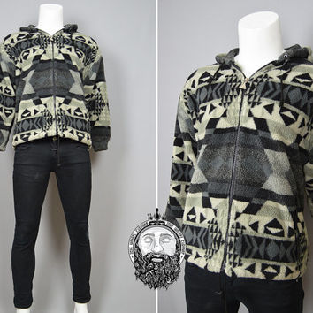 Vintage 90s Aztec Print Hipster Jacket Fleece Hoodie Mens Small Indie Coat Navajo Print Geometric Pattern Zip Up Hoody Winter Oversized