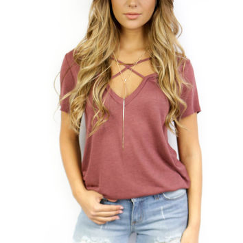 With or Without You Burgundy Short Sleeve Top
