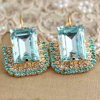 Aqua light Azure Blue statement earrings,Swarovski earrings,Rhinestone drop earrings weddings jewelry,mother of the bride thick gold plated