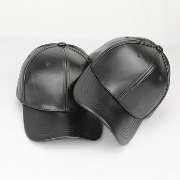 Trendy Winter Jacket High quality Genuine Leather Adjustable Solid color Baseball Caps Unisex Couple Hat Fashion Leisure Casual Hats adjustable AT_92_12