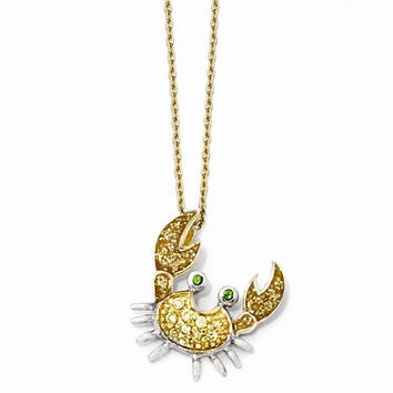 Sterling Silver Gold-Plated Enamel CZ & Gla Sim Emerald Crab Necklace